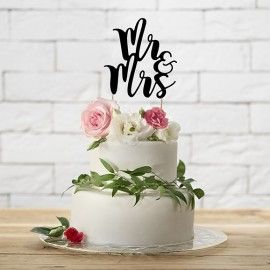 Cake topper mariage Mr et Mrs noir