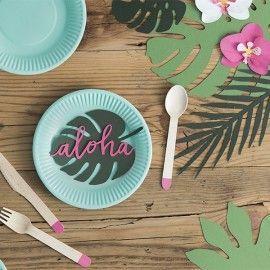 Assiettes jetables turquoises