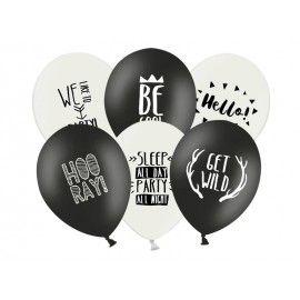 Ballons anniversaire noir et blanc