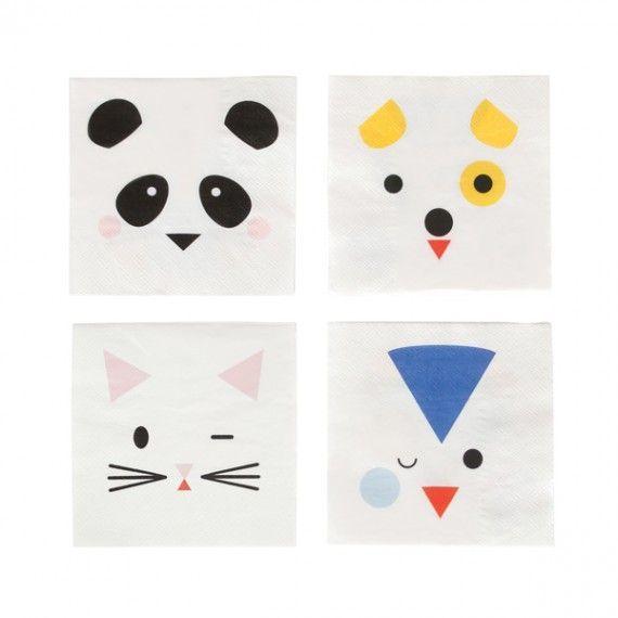 Mini serviettes animaux (par 12)