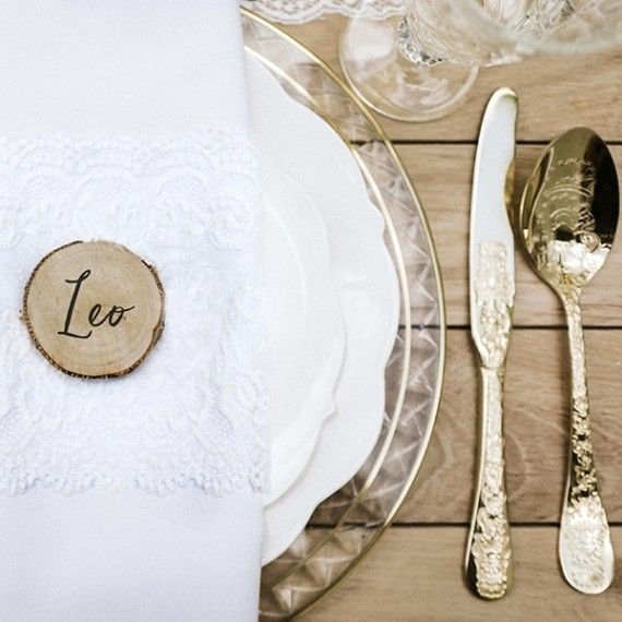 Marque place rondin de bois par 6 modern confetti - Marque place mariage champetre ...