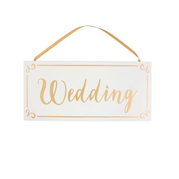 Pancarte wedding blanche et or
