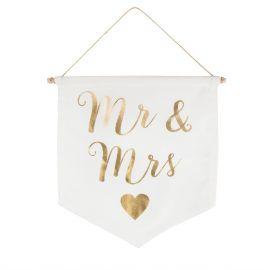 Bannière décoration Mr&Mrs or
