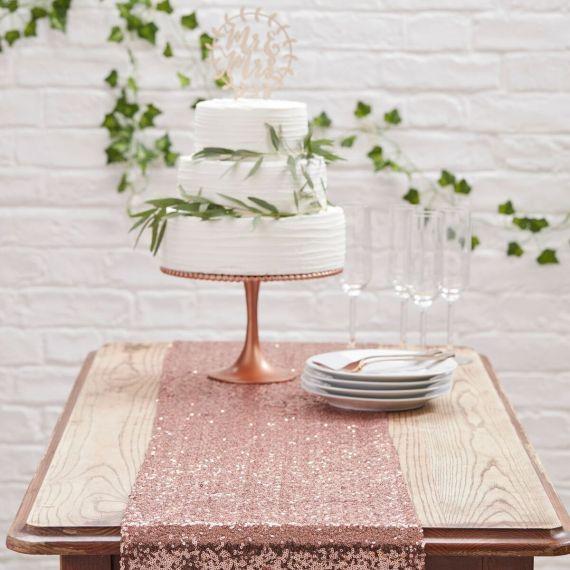 Chemin de table or rose modern confetti - Chemin de table rose pale ...