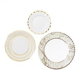 Assiettes carton blanches et or