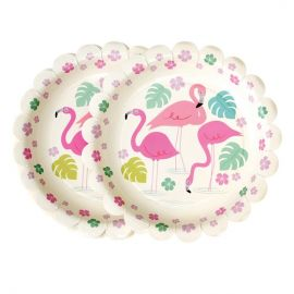 assiettes jetables flamant rose