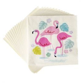serviettes en papier flamant rose