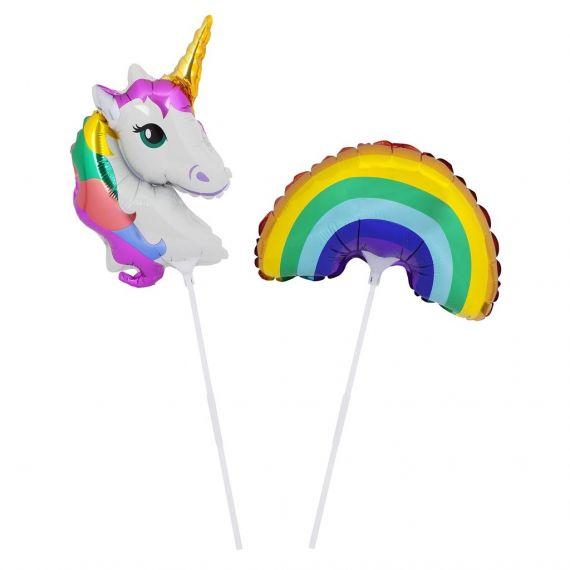 Mini ballon licorne et arc en ciel