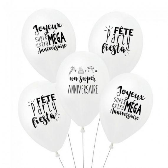 Ballons Danniversaire à Messages Par 5 Modern Confetti