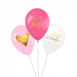 Ballon baby shower fille (par 3)