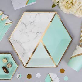 Assiettes marbre et vertes