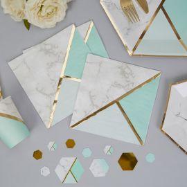 Serviettes papier marbre et vert menthe