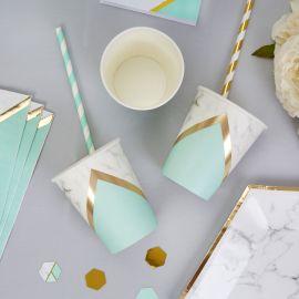 Gobelets marbre vert menthe et or