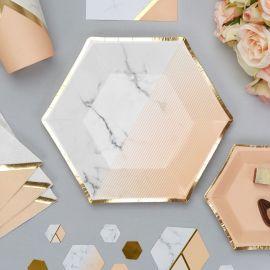 Petites assiettes marbre et rose pêche
