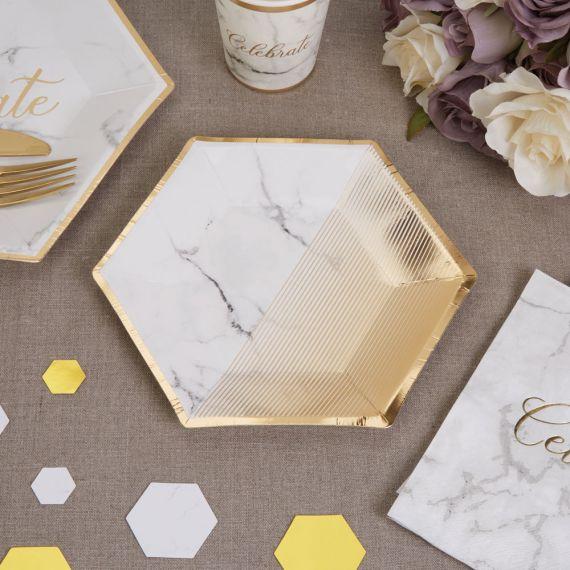 Assiettes marbre et or