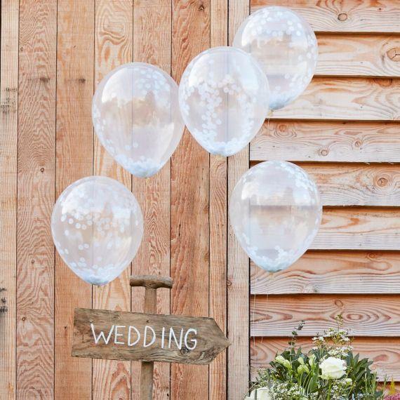 Ballons confettis blancs (par 5)