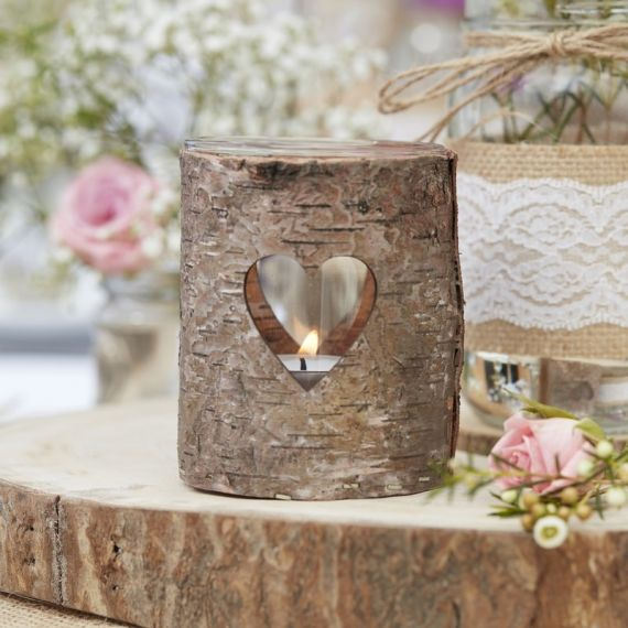 Photophore en bois découpe coeur