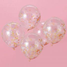 Ballons confettis étoiles pastel (par 5)