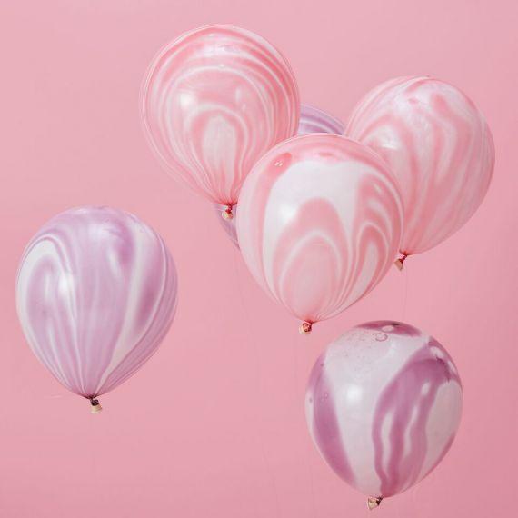 Ballons marbrés rose et violet