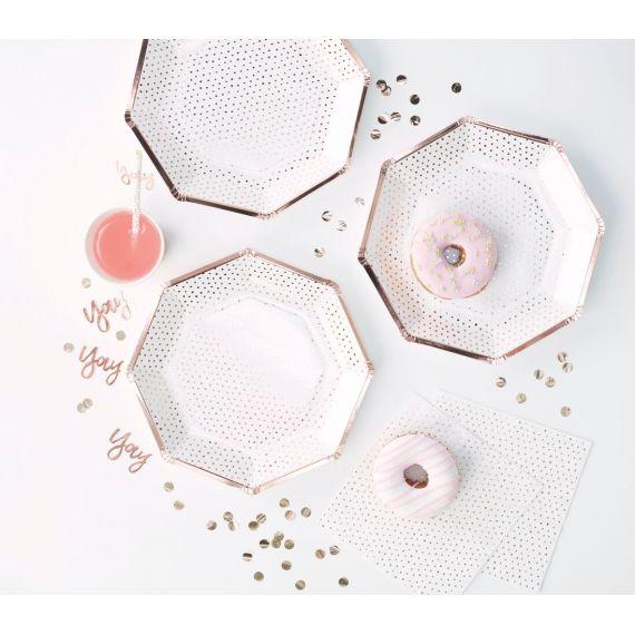 Assiettes jetables blanches et rose gold (par 8)