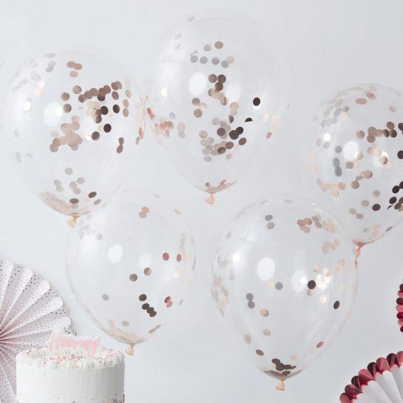 Ballons confetti rose gold (par 5)