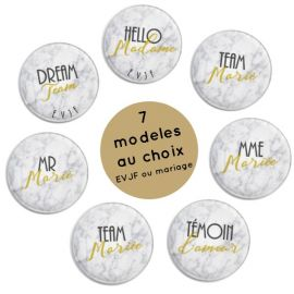 Badges EVJF et mariage collection marbre