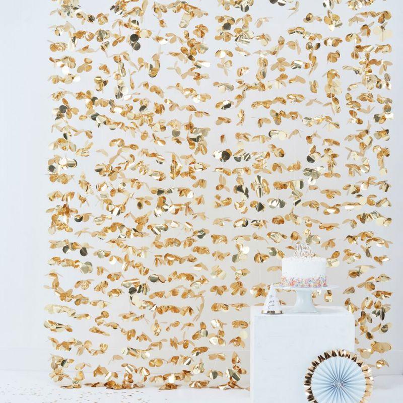 rideau de fleurs or