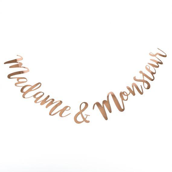Guirlande madame monsieur or rose