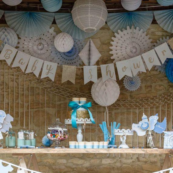 Guirlande baby shower bleu
