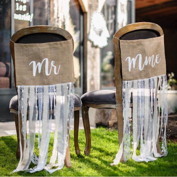 Décoration de chaises mariés Mr Mme