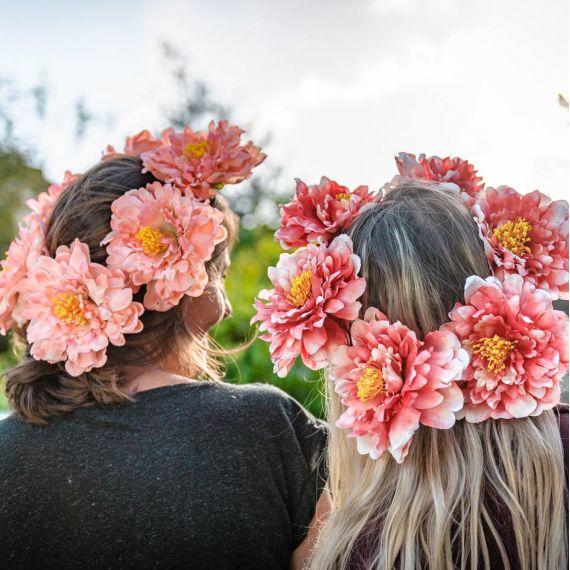 Couronne de fleurs corail