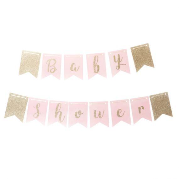 Guirlande baby shower rose