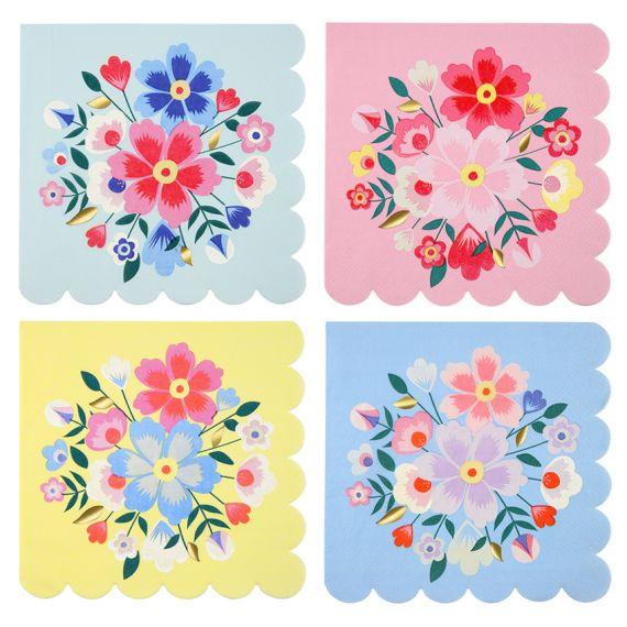 Serviettes motifs fleurs