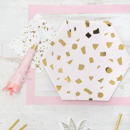Petites assiettes design rose et or
