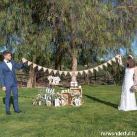 Guirlande de mariage en toile de jute