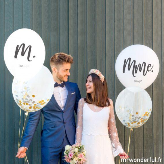 Ballons mariage M et Mme