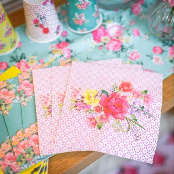 Serviettes rétro à fleurs