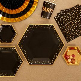Assiettes en carton - noir et or