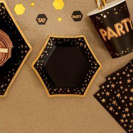 Petites assiettes étoiles en carton- noir et or
