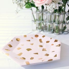 Assiettes design rose et or