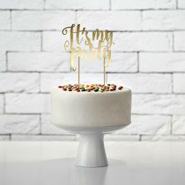 Cake topper It's my party doré