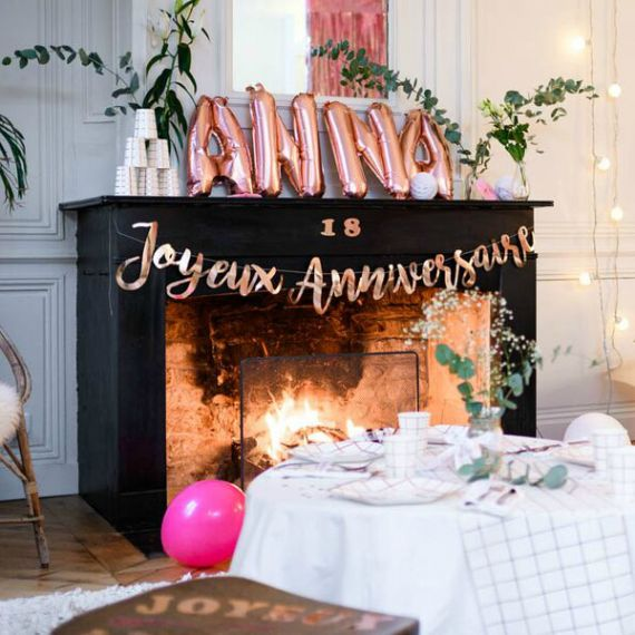 Guirlande Joyeux Anniversaire Rose Gold Modern Confetti