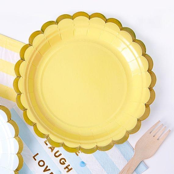 Assiettes jetables - jaune pâle (par 6)